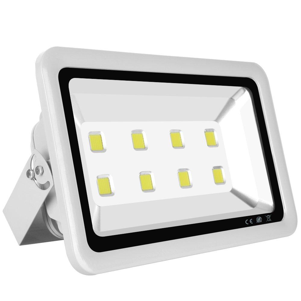 MORSEN LED Flood Light, Super Bright 400W Daylight White 6000K outdoor flood lights Waterproof IP65 40000lm 8LEDs Security Light Wall Light Silver