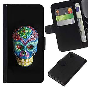 KLONGSHOP // Tirón de la caja Cartera de cuero con ranuras para tarjetas - Floral muerte del gris del cráneo azul Huesos - LG Nexus 5 D820 D821 //