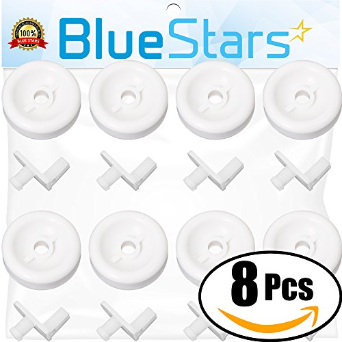 Ultra Durable WD35X21038 Dishwasher Lower Rack Roller Wheel and Stud Kit by Blue Stars - Exact Fit for GE Hotpoint Kenmore dishwasher - Replaces WD12X10267 PS11726733 AP5986365 - PACK OF (Kit Rack Slide)
