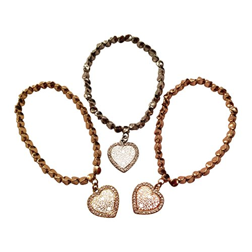 EverKid Elegant Bracelets with Open Heart Charms, set of 3 - Multi-Faceted Copper Beads on Stretch - Bracelet Open Heart Strand