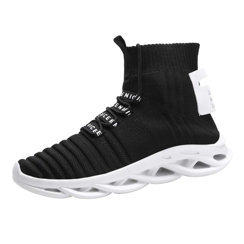 Gleamfut Men's Sock Sneakers Fashion Hollow Out Sole Pure Color High Top Lace-up Running Shoes Black by Gleamfut