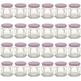mini canning lids - 1.5 oz Hexagon Mini Glass Jars with Lavender Lids and Labels (Pack of 24)