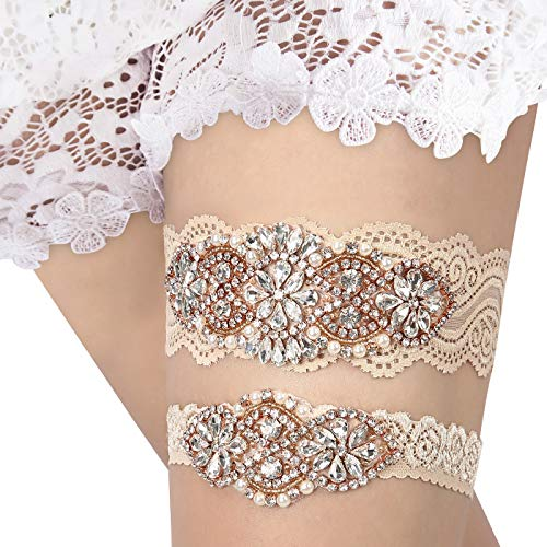HDE Champagne Garter for Bride Bridal Keepsake Traditional Toss
