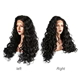 COLODO Synthetic Lace Front Wigs Long Curly for Black Women Natural Black Kinkys Curly Lace Front Wigs With Natural Hairline Heat Resistant Hair Replacement Wigs