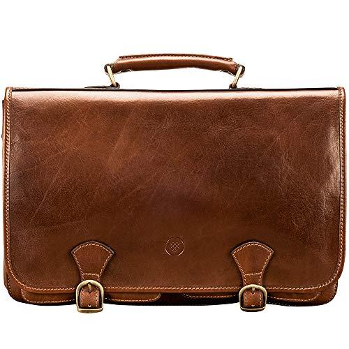 Maxwell Scott Men's Leather Briefcase Business Bag - Jesolo2 Tan