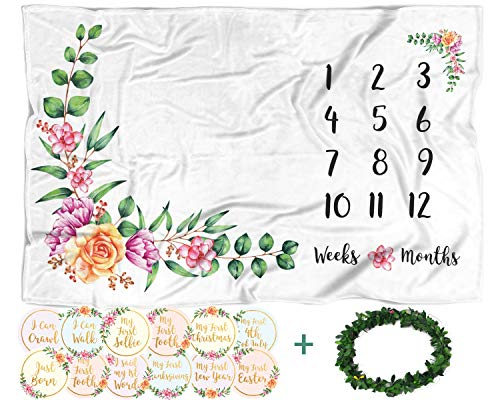 (Baby Monthly Milestone Blanket with 12 Stickers, Large 60x40 Month Blankets Girl, Soft Newborn Photography Background Sheet, Infant Photo Prop, Wreath Marker, Personalized Floral Nursery Baby Shower)
