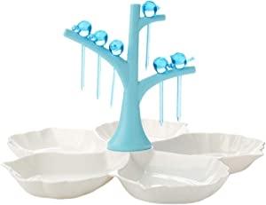 TOPBATHY Appetizer Serving Platters Compartment Plate Dividers 4 Sectional Tray with Food Picks Fruit Snacks Candy Nut Dessert Condiment Dish Holder (Sky-blue)