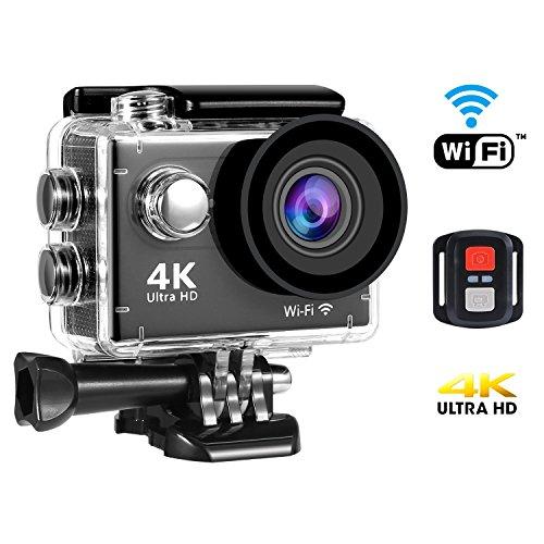 SENDOW 4K WiFi Action Camera 170° Wide-Angle 30M Waterproof Sport DV Camera Remote Control, Various Shooting Mode, Loop Recording, Full Accessories Kit SENDOW