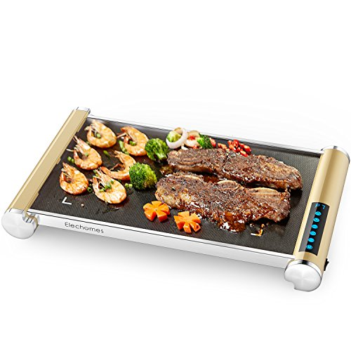 Electric Griddle with LED Touch Control - Elechomes Glass Ceramic Nonstick Grill/Griddle with Even Heating, Build in Far-infrared Heating Technology for Indoor & Outdoor Use