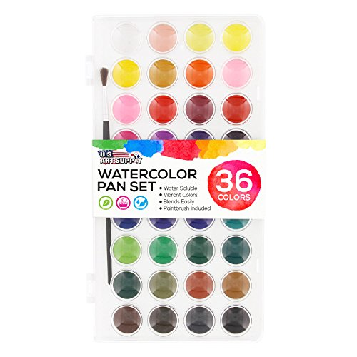 U.S. Art Supply 36 Color Watercolor Artist Paint Set with Plastic Palette Lid Case and Paintbrush - Watersoluable Cakes (Paint Watercolor Washable)