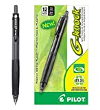 Pilot BeGreen G-Knock Retractable Gel Ink Pens, Fine Point, Black Ink, Dozen Box -31506