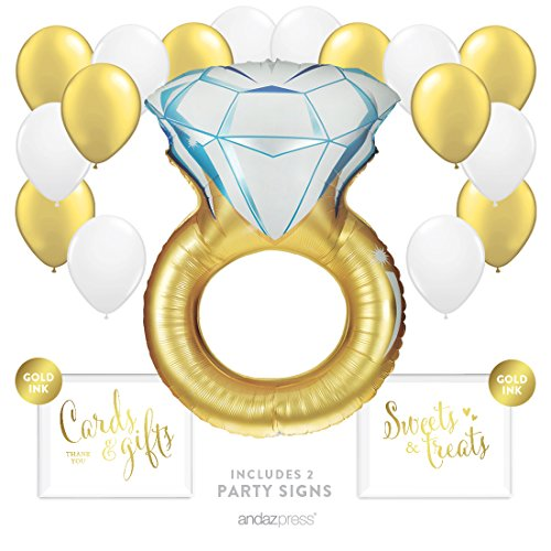 (Andaz Press Balloon Party Kit with Signs, Wedding Bridal Shower Engagement Party, Diamond Ring Gold with White and Gold Balloons, Hanging Decor, Hanging Decorations, 19-Piece Kit)