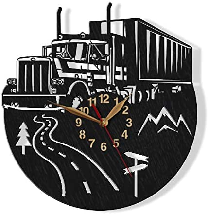monastar Semi Truck Big Wall Clock -Select Size, Personalized- Wood Non-Ticking Trucker Driver Trailer Gift Wall Art D cor