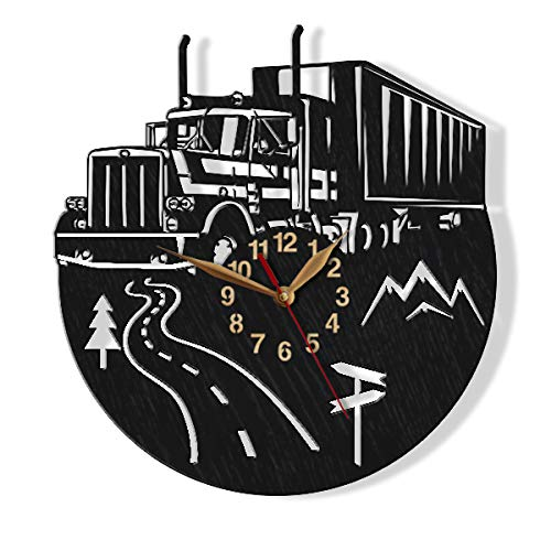 monastar Semi Truck Big Wall Clock -Select Size, Personalized- Wood Non-Ticking Trucker Driver Trailer Gift Wall Art Décor