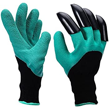 OUNNE Garden Genie Gloves with Claws for Digging and Planting