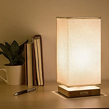 Haitral Table Lamp Bedside Desk Lamp With Fabric Shade