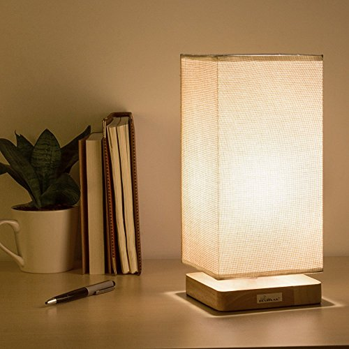 HAITRAL Bedside Table Lamp Fabric Shade Wood Desk Light for Bedroom Kid's Room Living Room