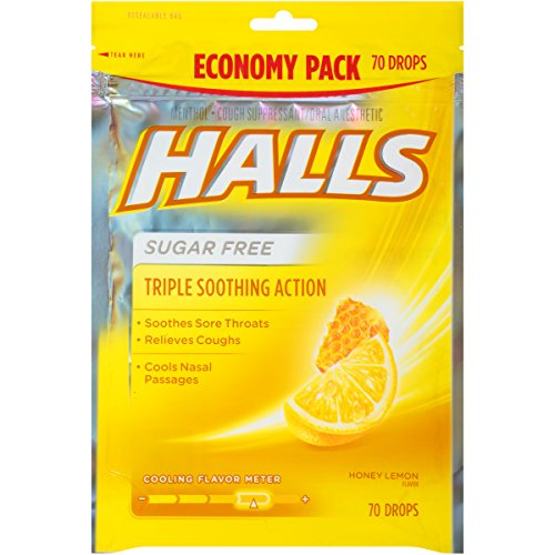 Halls Menthol Cough Suppressant Drop-Honey-Lemon, Sugar Free-70 (Drops Sugar Free Honey)