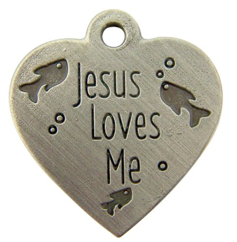 Jesus Loves Me Heart Shape Medal with Fish 1 Inch Pendant Cat Tag Collar Pet Charm - Medal Fish