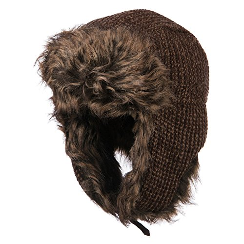 Women's Crocheted Knit Trooper Hat - Brown OSFM
