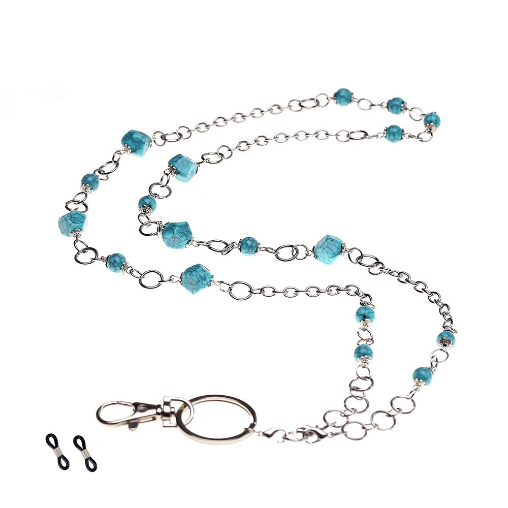 Purida Beaded Lanyards for Women, Beaded Eyeglass Chain, 34'' Stainless Steel Chain Length, Multi-Function Usage(Turquoise Color Beads) by Purida