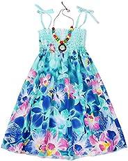 Kantenia Floral Boho Dress Summer Girls Off Shoulder Rainbow Beach Dresses Halter Casual Sundress