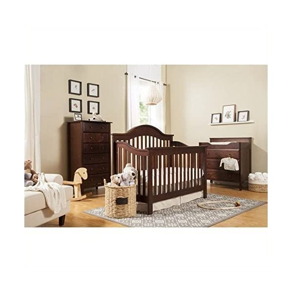 DaVinci Jayden 4-in-1 Convertible Wood Baby Crib with Toddler Rail in Espresso