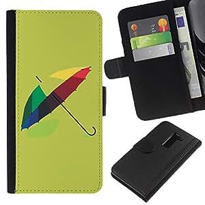 KLONGSHOP // Tirón de la caja Cartera de cuero con ranuras para tarjetas - Diseño paraguas colorido - LG G2 D800 //