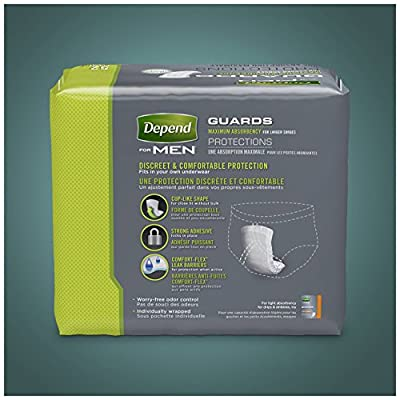 Depend Incontinence Guards for Men, (2 Pack) Maximum Absorbency, 52 count
