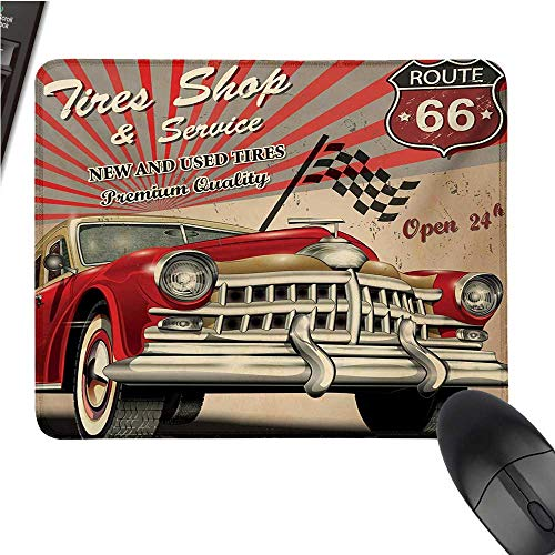 Carse-Sports Gaming Mouse PadTires Shop and Service Route 66 Emblem Advertisement Retro Style Poster PrintNonslip Rubber Base 9.8