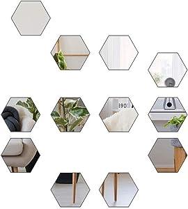 Self Adhesive Mirror Wall Stickers DIY Flexible Plastic Hexagon Acrylic Non Glass Mirror Sticker Decals for Home Living Room Bedroom Decor(12pcs, S-Hexagon)