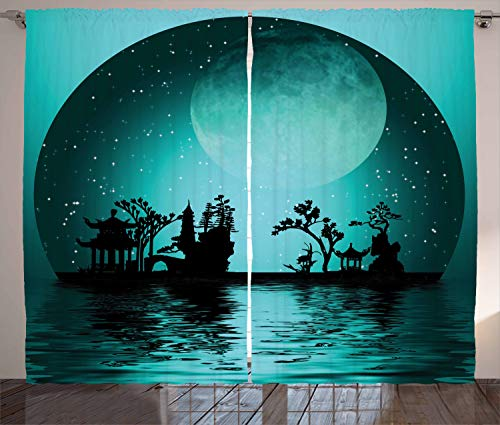 Ambesonne Asian Decor Collection, Asia Landscape with Moon Stars Night Sky Holiday Festival Artistic Design, Living Room Bedroom Curtain 2 Panels Set, 108 X 90 Inches, Dark Teal Black