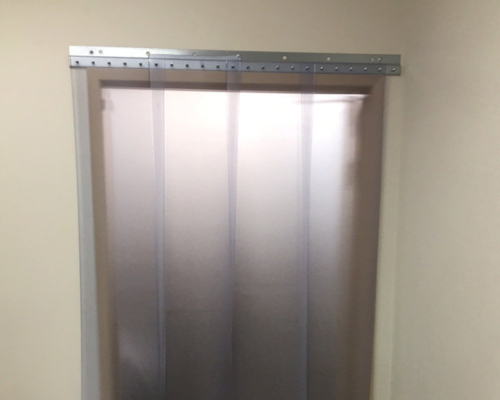 4 ft 9 ft height width X 108 in. strips with 50/% overlap 48 in. common door kit Strip-Curtains.com: Strip Door Curtain Hardware included Frosted 8 in