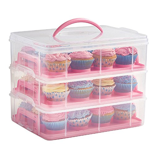 Portable 3 Tier Cupcake Cake Carrier with Handle Pie Container Translucent Dome Holds Up to 24 Cupcakes or Muffins for Transporting Cakes, Cupcakes, Cookies, Pies, or Other Desserts (Pink)