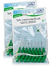 TePe Interdental Brushes 0.8mm Green - 2 Packets of 8 (16 Brushes) by TePe