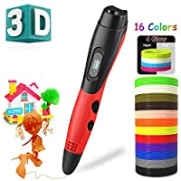 3D Pen with 16 Colors 160Ft PLA Filament Refills 3D Drawing Printing Printer Pen with LCD Screen Automatic Feeding,Christmas Gifts Toys for Kids Adults Non-Clogging (Red with 16 Colors PLA)