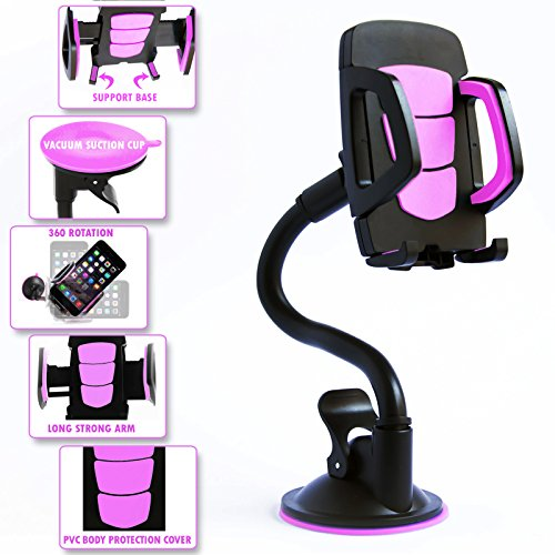 Long Arm Car Mount Cell Phone Holder With 360 Degree Rotation. Strong Flexible and Bendy Adjustable Neck With Adhesive sticky Suction Cup For Windshield. Pink Car Mobile Phone Accessory For Any Device (Htc One Mini Accesories compare prices)