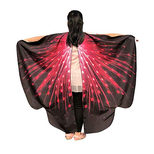 JOFOW Children Halloween Carnival Costume Butterfly Wings Gradient Party Festival Props Shawl Nymph Pixie Accessory (Freesize,Red)