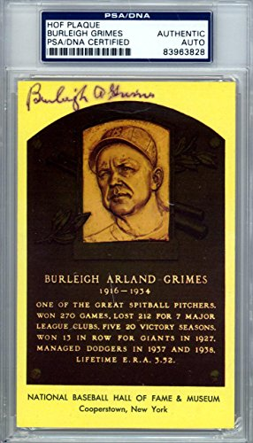 Burleigh Grimes Autographed Signed HOF Plaque Postcard #83963828 PSA/DNA Certified MLB Cut Signatures