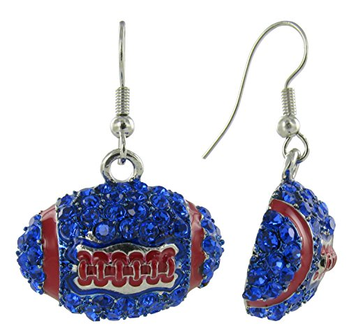 Dome Football Rhinestone Fish Hook Earrings - Royal Blue Crystals and Red Enamel