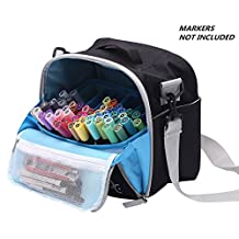 Togood Storage Tote Bag for Marker Pens Brush Pen Coloring Pencils Books Art and Crafts Supplies Tools Cosmetics, Up to 130 Pens,black