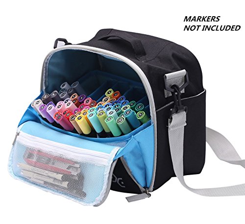 Coloring Tote Bag (Large Storage Tote Bag for Marker Pens Brush Pen Coloring Pencils Books Art and Crafts Supplies Tools Cosmetics, Up to 130 Pens,black)