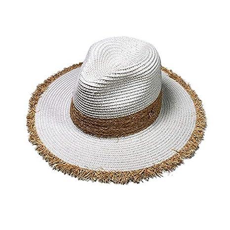 Longra💞 Unisex Beach Sombrero de Paja Sombrilla de Jazz Panamá ...