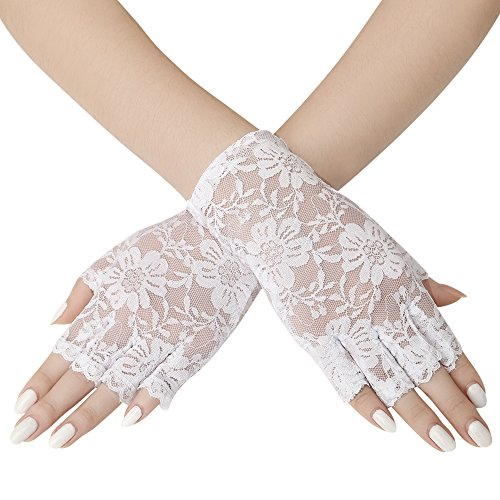 Floral Lace Gloves - BABEYOND Short Floral Lace Gloves for Wedding 20s Opera Party Fingerless Lace Gloves Stretchy Adult Size Wrist Length 6.3