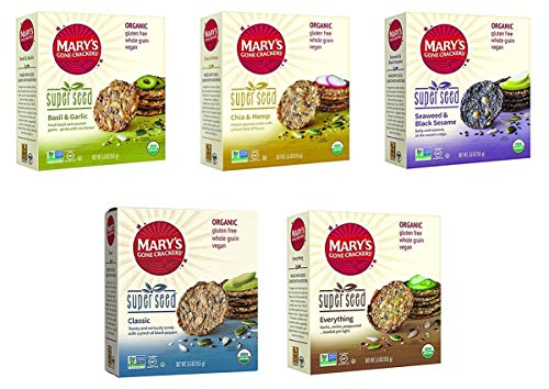 Mary's Gone Crackers Super Seed - 5 Flavor Variety Bundle - 5.5 oz - Basil & Garlic, Classic, Chia & Hemp, Everything, Seaweed & Black - Gone Crackers