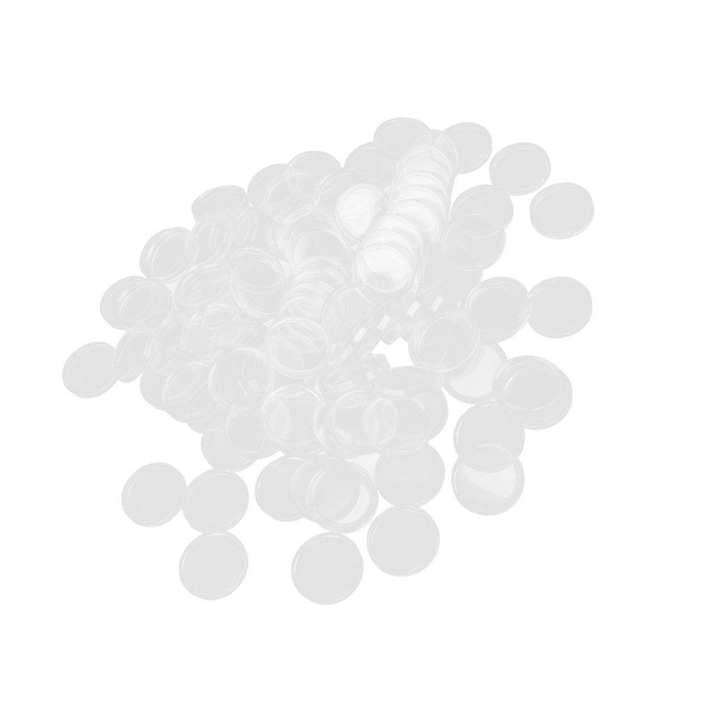 100 Boxed M/ünzdosen M/ünzfach M/ünzkapseln Transparente Farbe 45mm