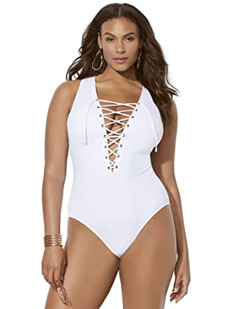 Swimsuits For All Women s Plus Size Ashley Graham CEO Swimsuit 8 White 7322df0b45d8