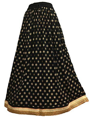- Yoga Trendz Women's Indian Ethnic Print Shimmering Crinkle Bohemian Long Skirt w/Gold Border (#124 Black)