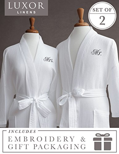 Luxor Linens Waffle Weave Spa Bathrobe - Ciragan Collection - Luxurious, Super Soft, Plush & Lightweight - 100% Egyptian Cotton, Made in Turkey (Mr./Mrs. With Gift Packaging) by Luxor Linens