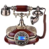 Rotary Antique Corded Telephone, Landline Retro Classic Wood Phone Fashion Creative Vintage European Dial Telephone with Automatic IP for Home Hotel Office Decoration, 21.5 17 22.5cm